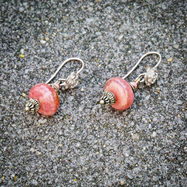 Ohrringe aus Rhorochrosit (12 x 6 mm) und Silber